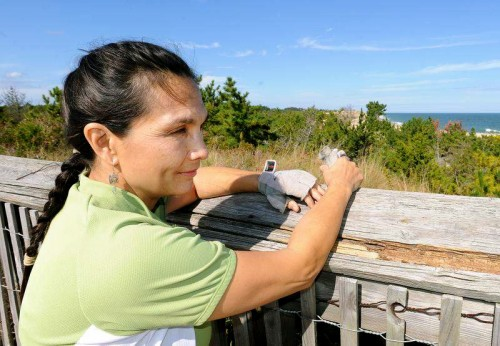 JoAnn Balingit at Herring Point overlook, Cape Henlopen State Park