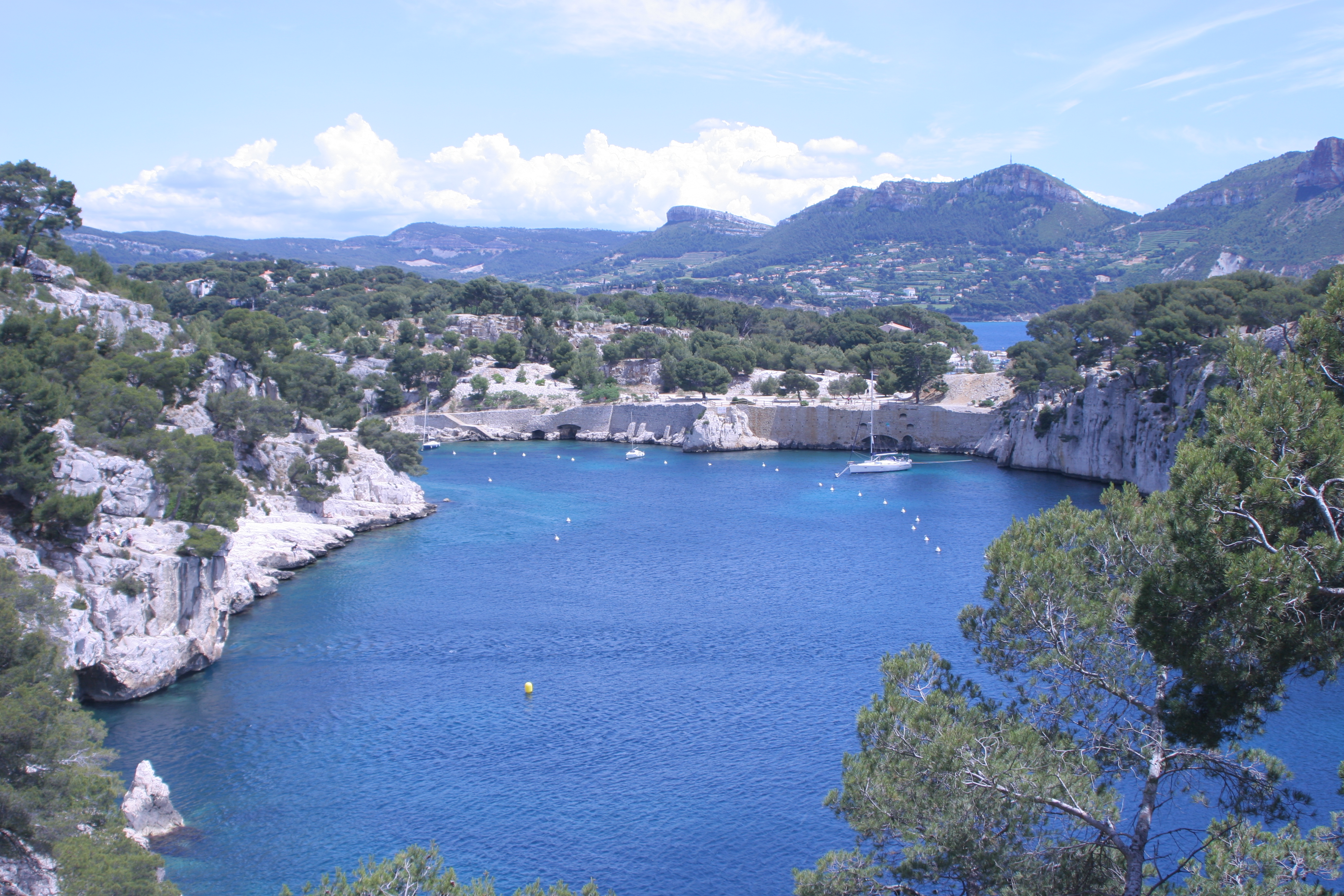 Looking down the mouth of Calanque Port Miou, which flows into Cassis's cove and the Mediterranean. Cap Canaille rises in the background, as always.