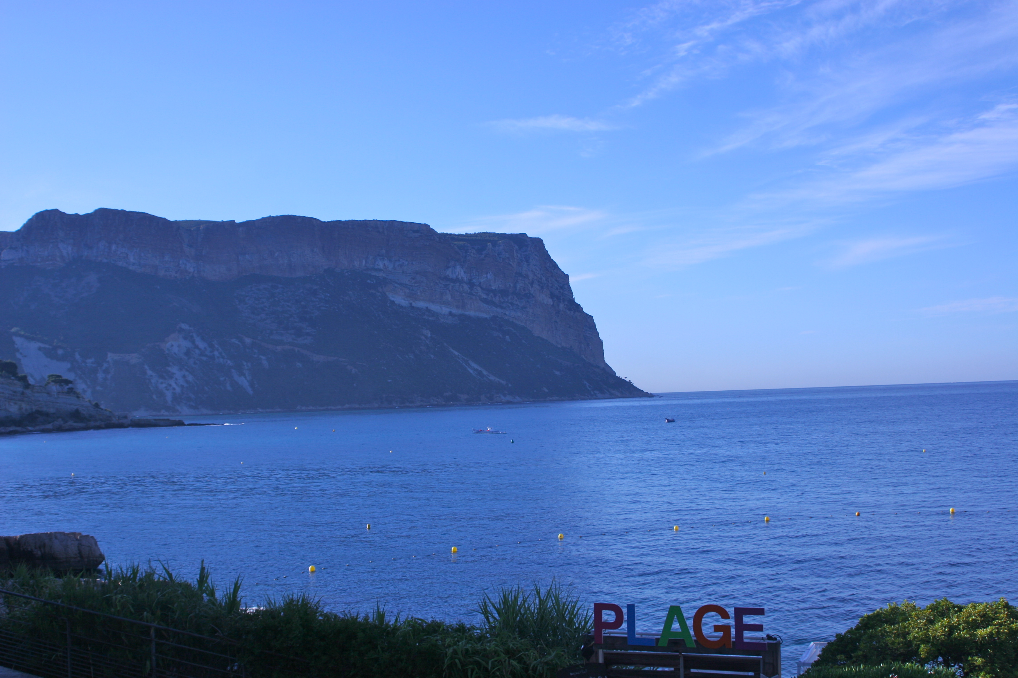 "From Bestouan Beach, Cassis, a morning view of the ""massif"" Cap Canaille, highest sea cliff in Europe"